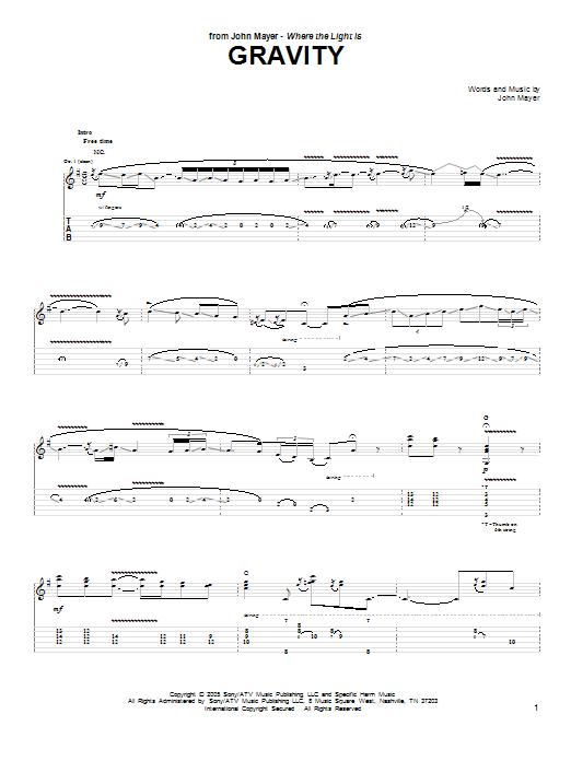 Tablature guitare Gravity de John Mayer - Tablature Guitare