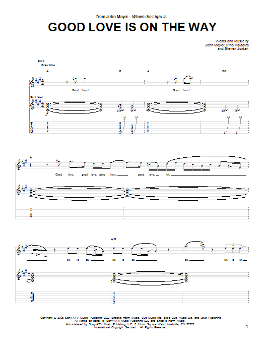 Tablature guitare Good Love Is On The Way de John Mayer - Tablature Guitare