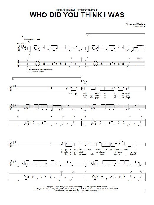 Tablature guitare Who Did You Think I Was de John Mayer - Tablature Guitare