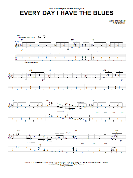 Tablature guitare Every Day I Have The Blues de John Mayer - Tablature Guitare