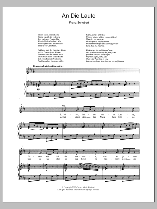 An Die Laute (To The Lute) Op.81 No.2 sheet music for voice and piano by Franz Schubert