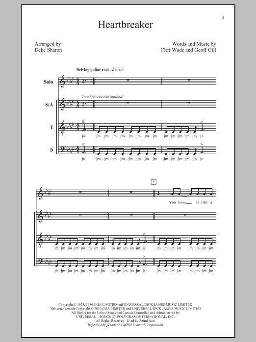 Partition chorale Heartbreaker de Pat Benatar - SATB