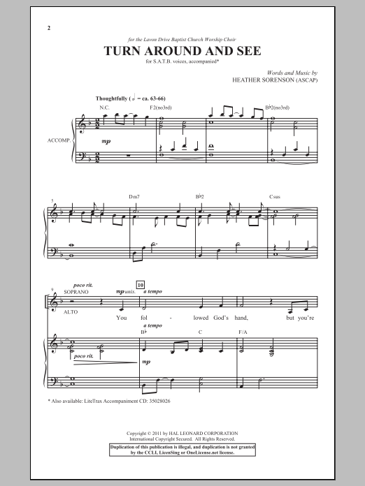 Partition chorale Turn Around And See de Heather Sorenson - SATB