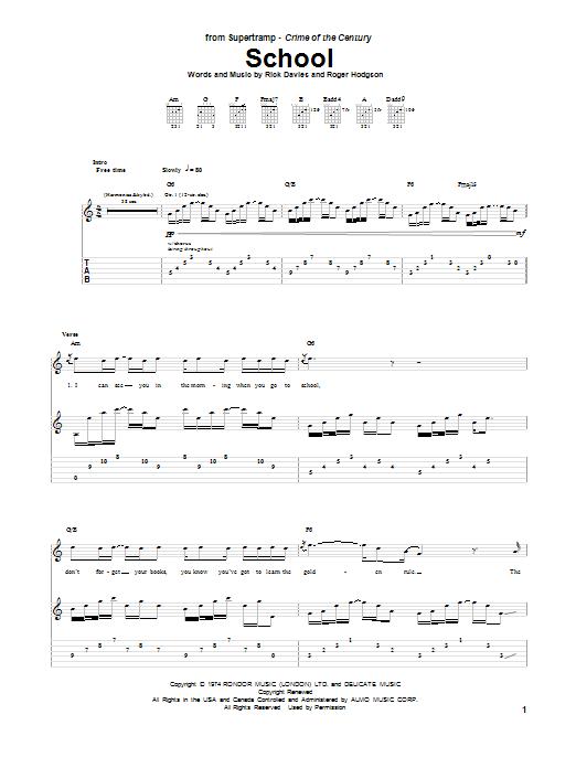 Tablature guitare School de Supertramp - Tablature Guitare