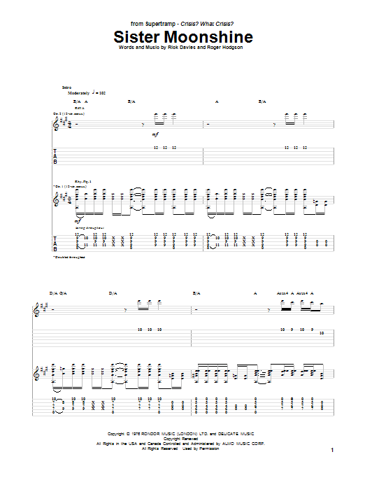 Tablature guitare Sister Moonshine de Supertramp - Tablature Guitare