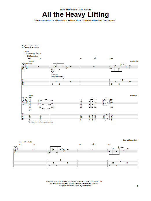 Tablature guitare All The Heavy Lifting de Mastodon - Tablature Guitare