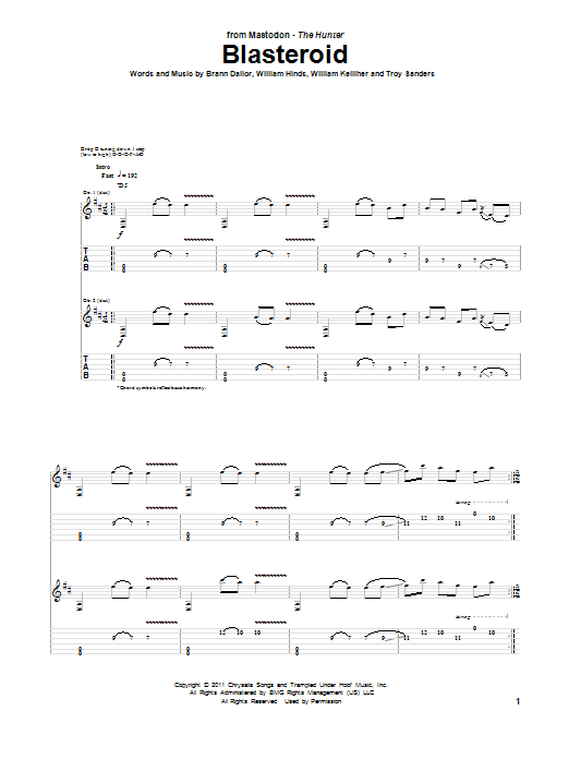 Blasteroid sheet music for guitar solo (tablature) by William Kelliher
