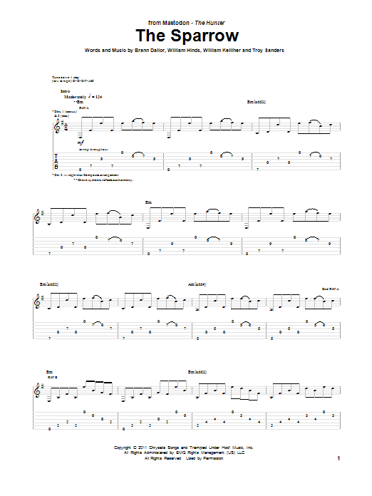 Tablature guitare The Sparrow de Mastodon - Tablature Guitare