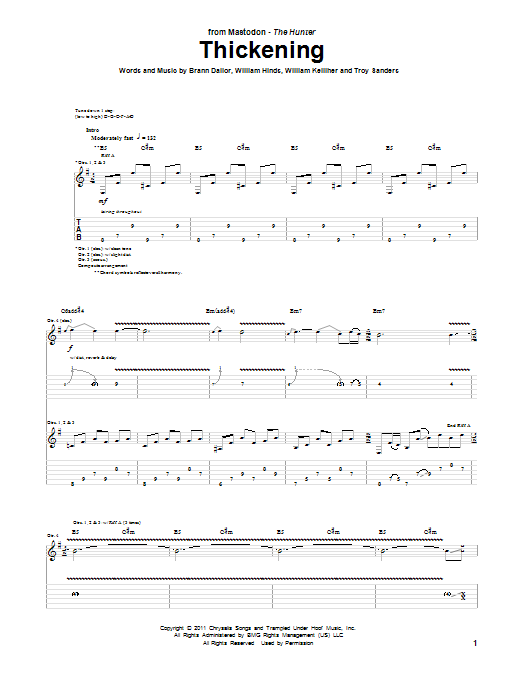 Tablature guitare Thickening de Mastodon - Tablature Guitare