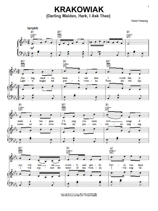 Partition piano Krakowiak (Darling Maiden, Hark, I Ask Thee) de Polish Folksong - Piano Voix Guitare (Mélodie Main Droite)