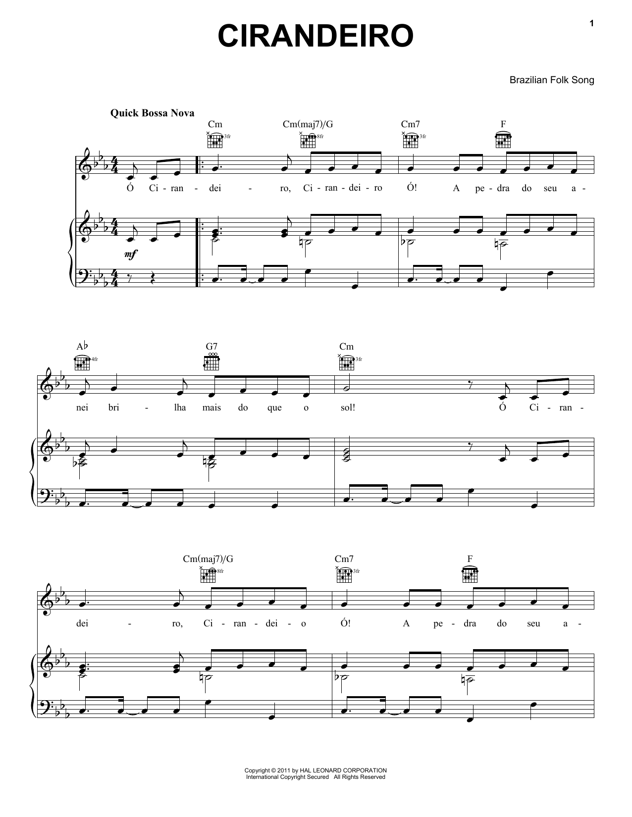 Cirandeiro sheet music for voice, piano or guitar by Brazilian Folk Song