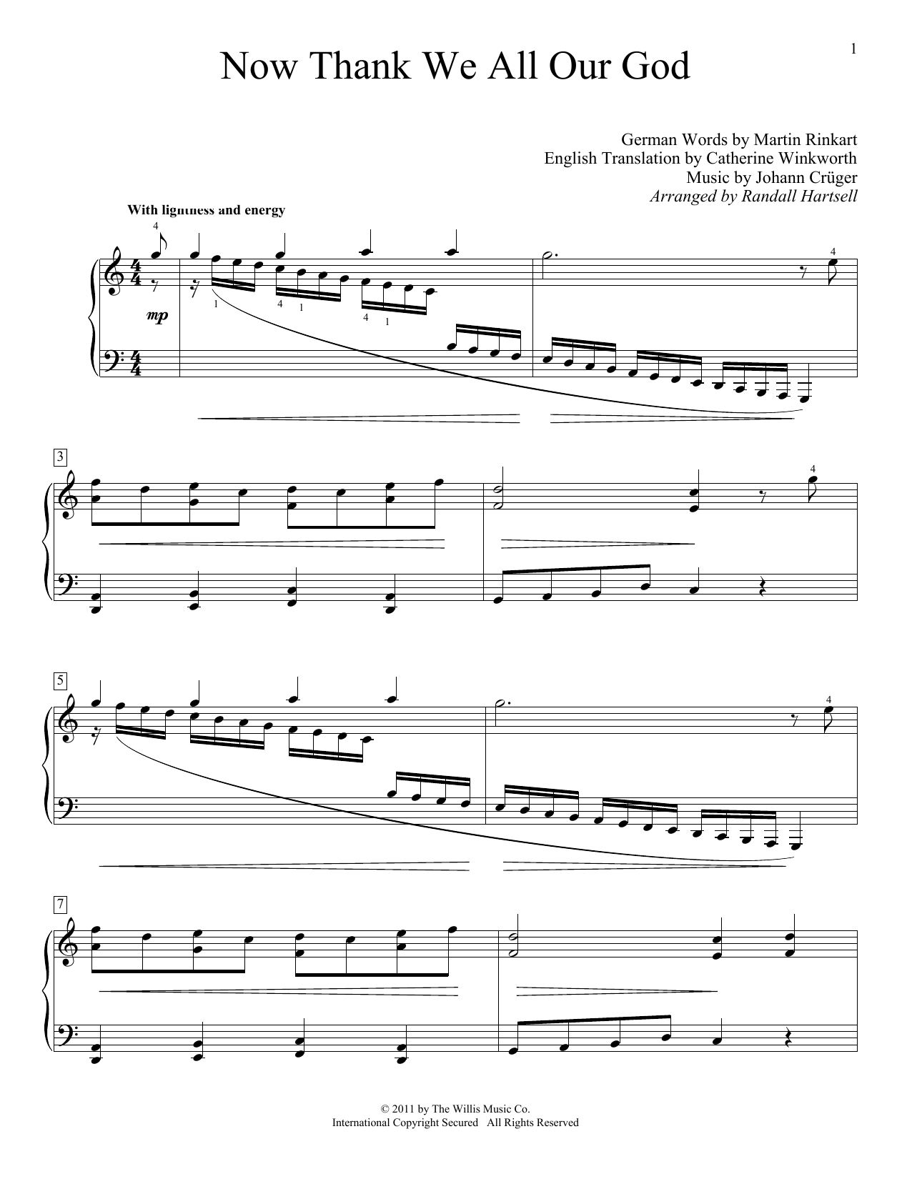 Partition piano Now Thank We All Our God de Martin Rinkart - Piano Solo