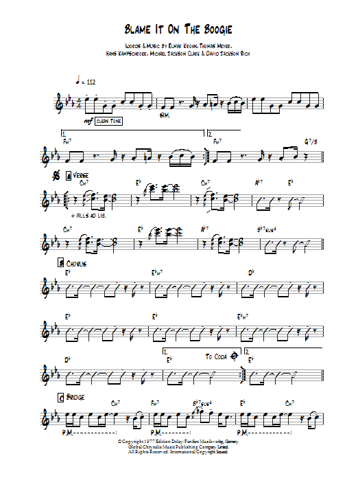 Blame It On The Boogie sheet music for guitar solo (chords) by Thomas Meyer