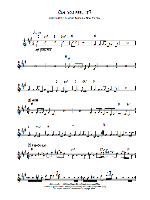 Can You Feel It sheet music for guitar solo (chords) by Michael Jackson