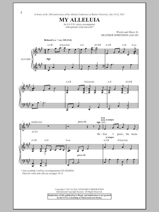 Partition chorale My Alleluia de Heather Sorenson - SATB