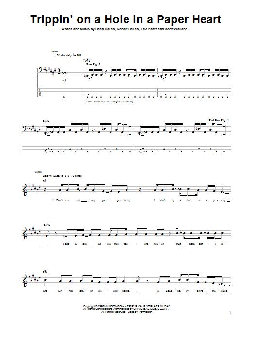 Tablature guitare Trippin' On A Hole In A Paper Heart de Stone Temple Pilots - Tablature Basse