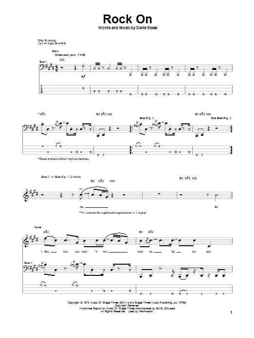 Tablature guitare Rock On de David Essex - Tablature Basse