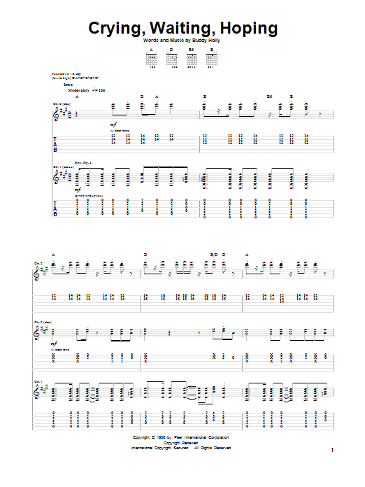 Tablature guitare Crying, Waiting, Hoping de Buddy Holly - Tablature Guitare
