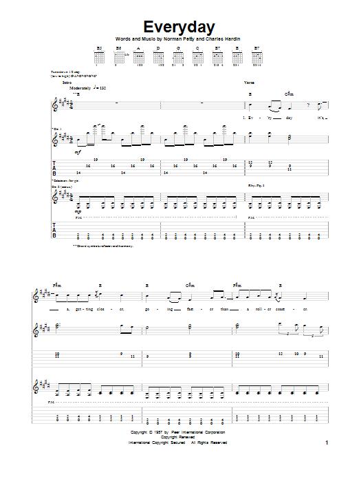 Tablature guitare Everyday de Buddy Holly - Tablature Guitare