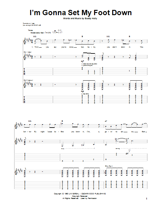 Tablature guitare I'm Gonna Set My Foot Down de Buddy Holly - Tablature Guitare