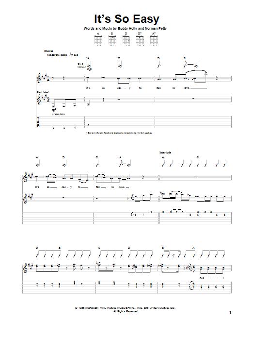 Tablature guitare It's So Easy de Buddy Holly - Tablature Guitare