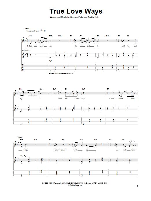 Tablature guitare True Love Ways de Buddy Holly - Tablature Guitare