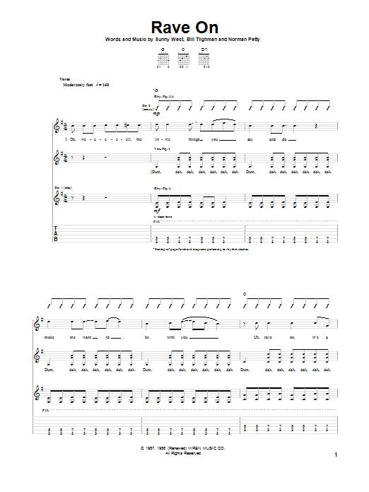 Tablature guitare Rave On de Buddy Holly - Tablature Guitare