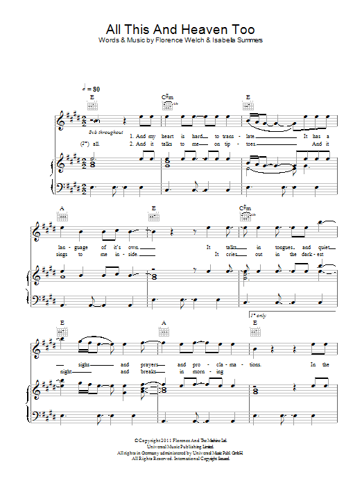 All This And Heaven Too sheet music for voice, piano or guitar by Isabella Summers