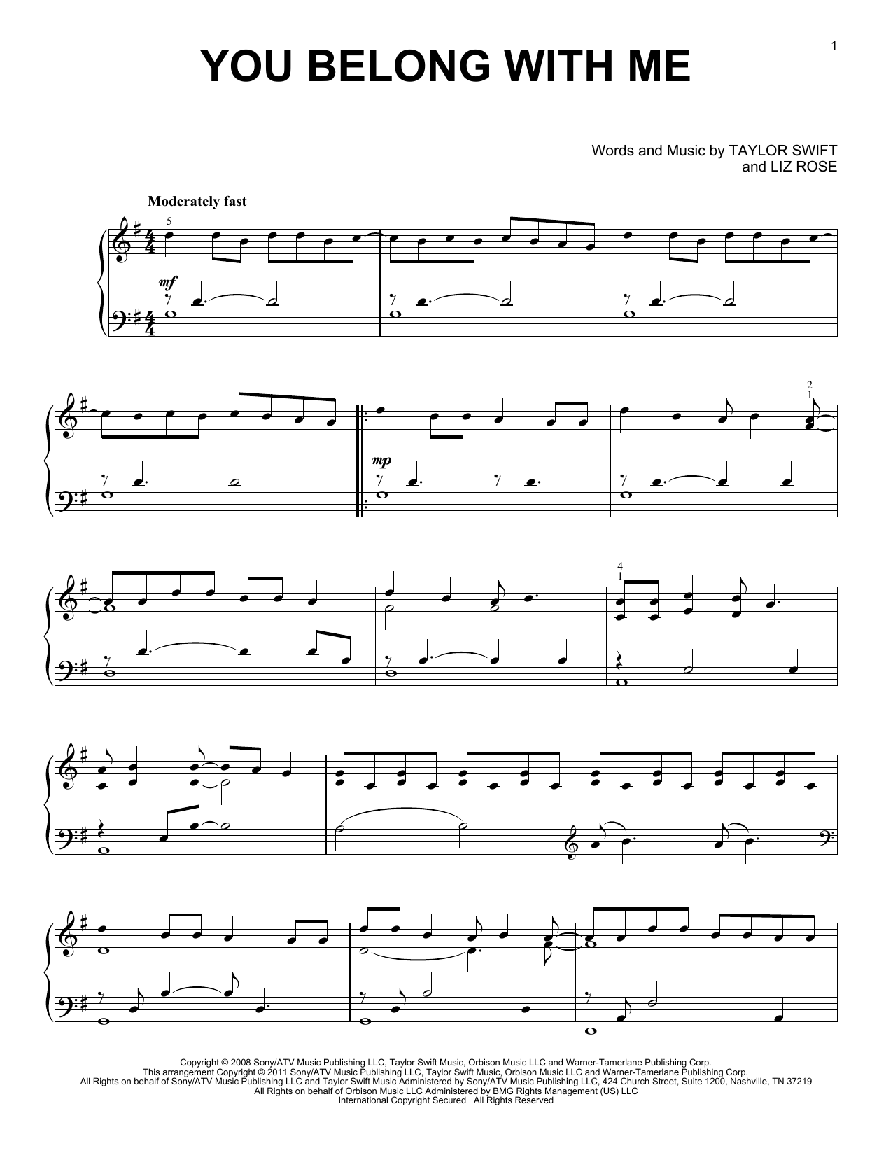 Partition piano You Belong With Me de Taylor Swift - Piano Solo