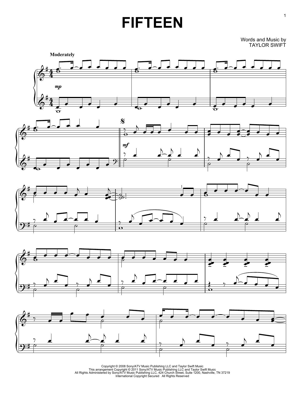 Partition piano Fifteen de Taylor Swift - Piano Solo