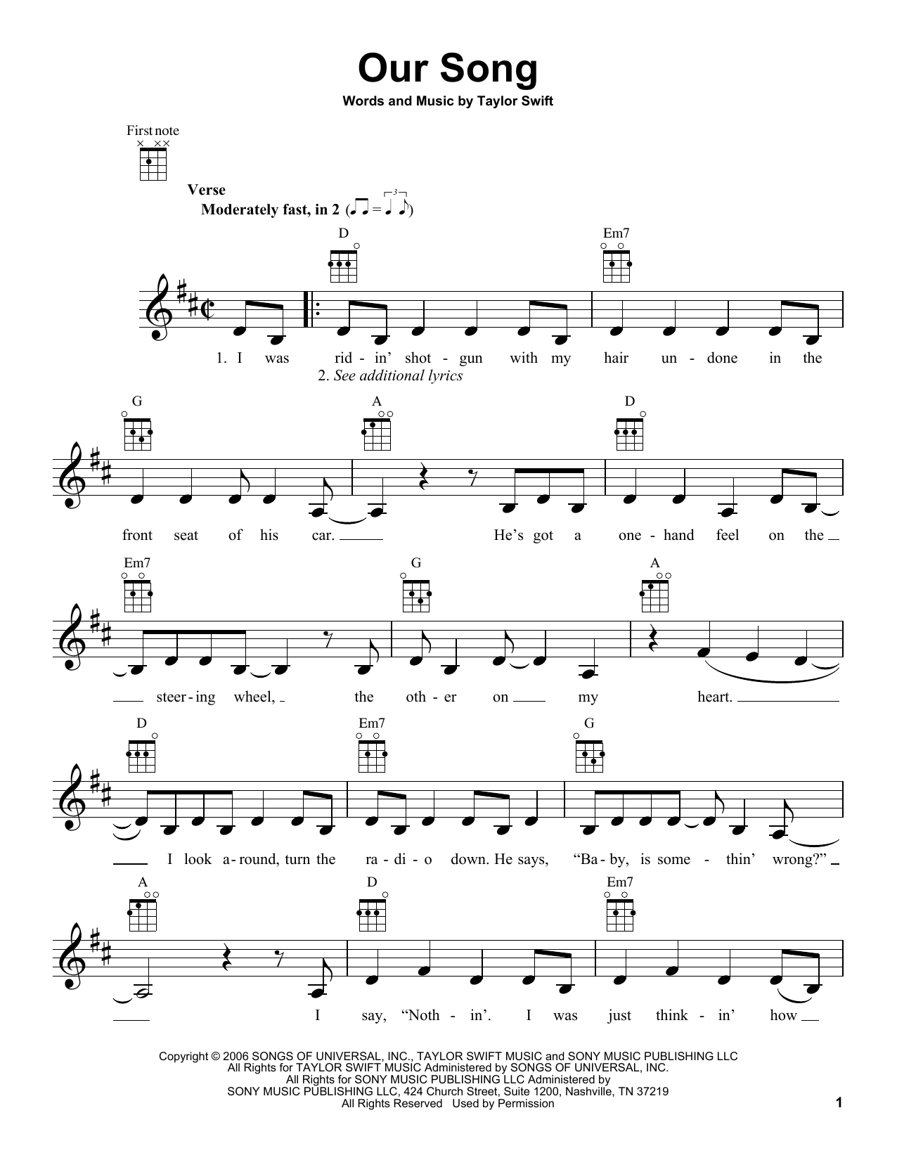 Tablature guitare Our Song de Taylor Swift - Ukulele