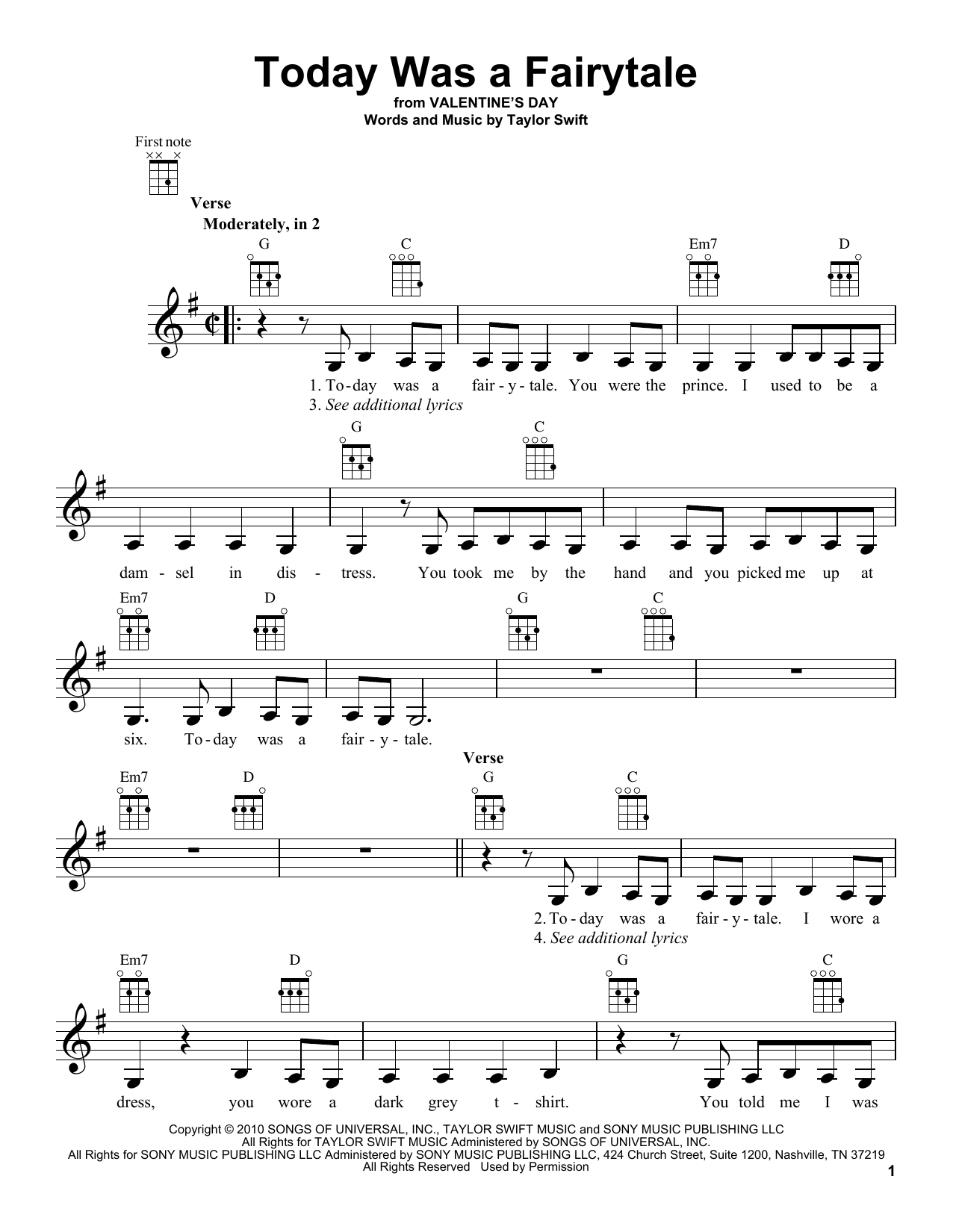 Tablature guitare Today Was A Fairytale de Taylor Swift - Ukulele