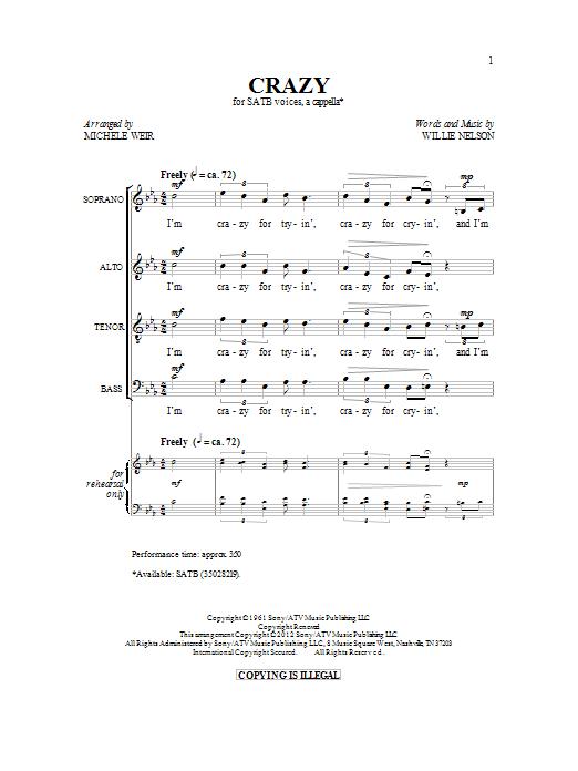 Partition chorale Crazy de Patsy Cline - SATB