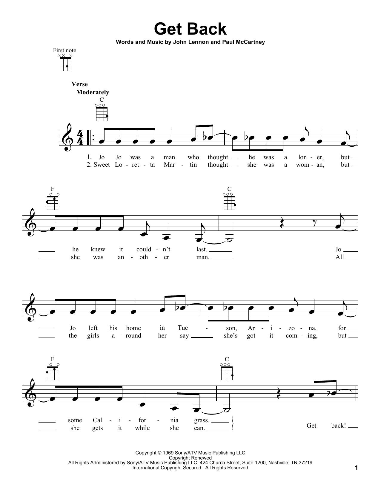 Tablature guitare Get Back de The Beatles - Ukulele