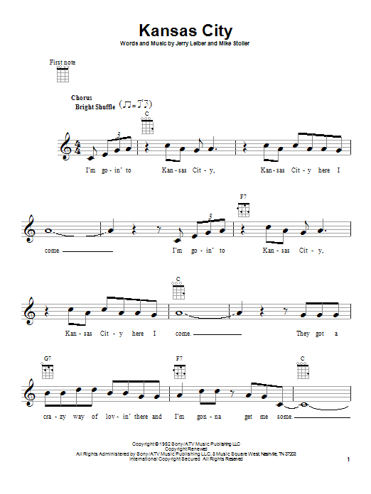 Tablature guitare Kansas City de Wilbert Harrison - Ukulele