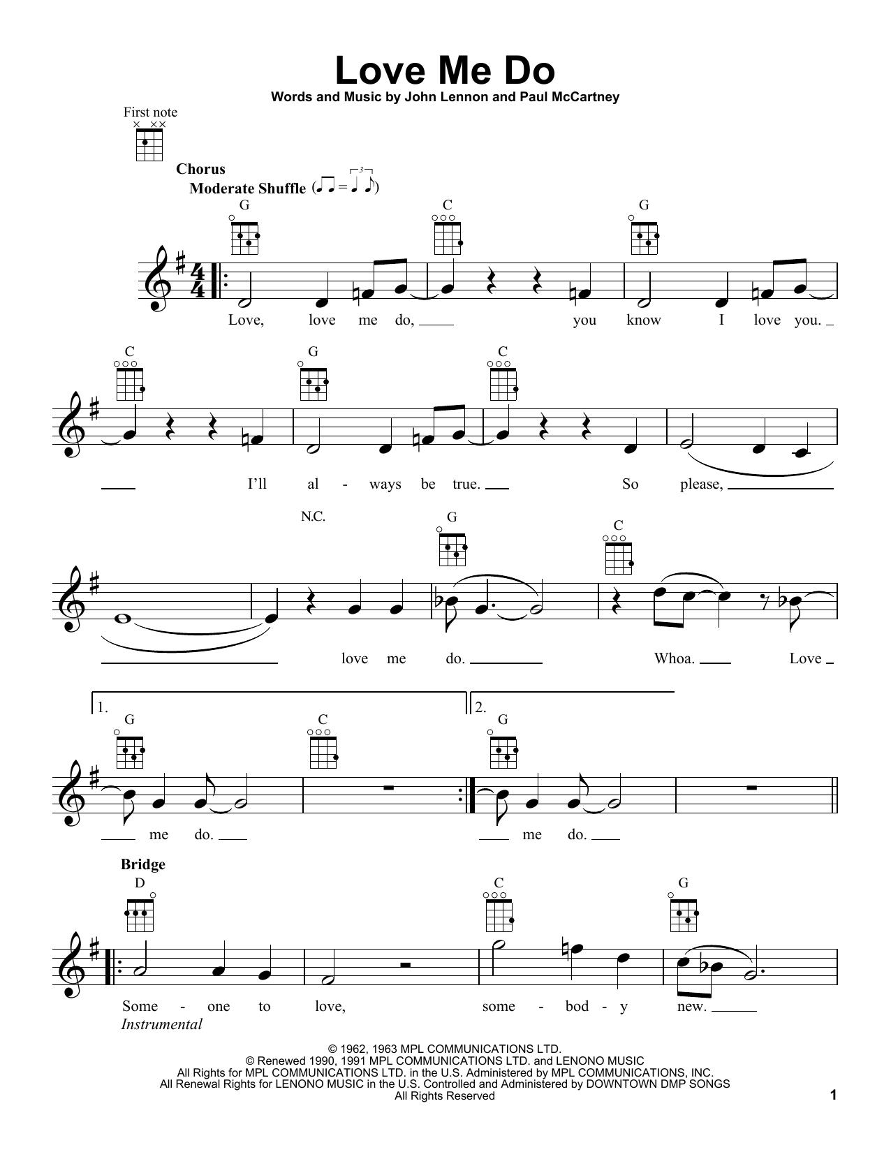 Tablature guitare Love Me Do de The Beatles - Ukulele
