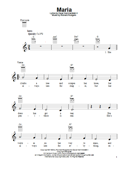 Tablature guitare Maria de Rodgers & Hammerstein - Ukulele