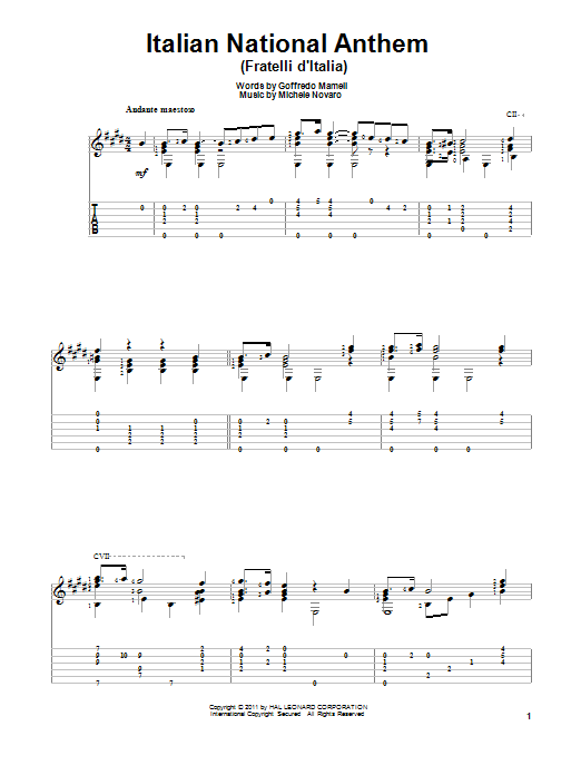 Italian National Anthem (Fratelli d'Italia) sheet music for guitar solo by Goffredo Mameli