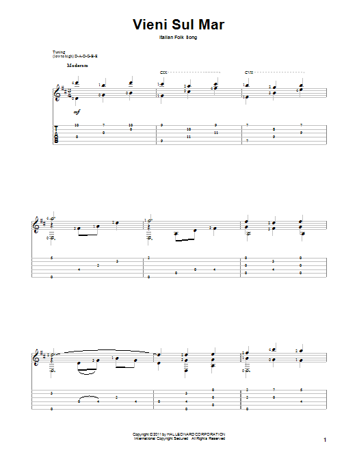 Tablature guitare Vieni Sul Mar de Italian Folk Song - Tablature Guitare