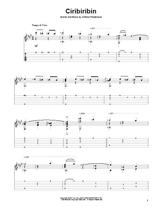 Ciribiribin sheet music for guitar solo by Antonio Pestalozza
