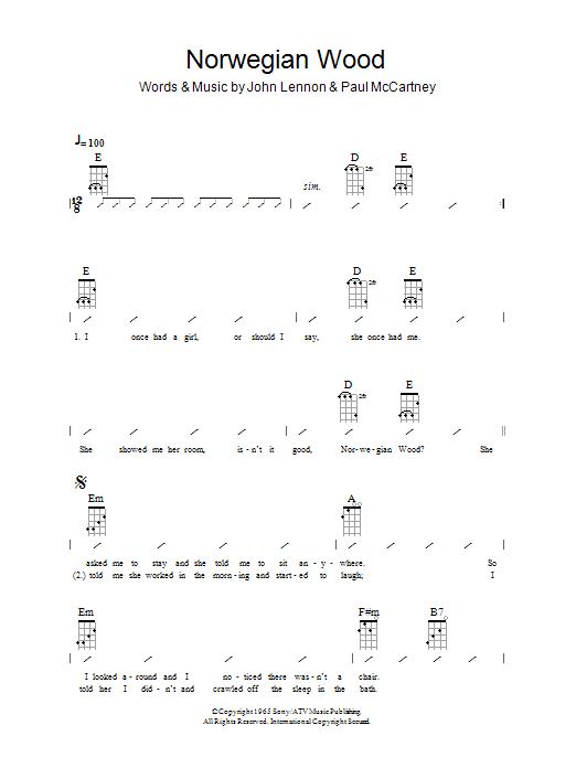 Norwegian Wood (This Bird Has Flown) sheet music for ukulele (chords) by John Lennon