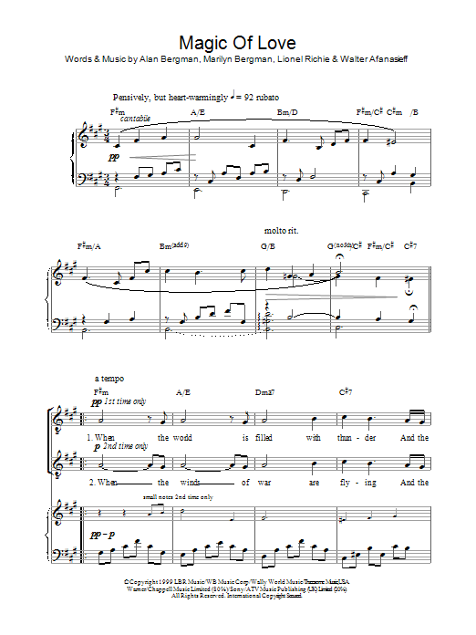 Magic Of Love sheet music for voice, piano or guitar by Walter Afanasieff