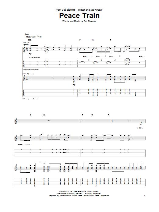 Tablature guitare Peace Train de Cat Stevens - Tablature Guitare
