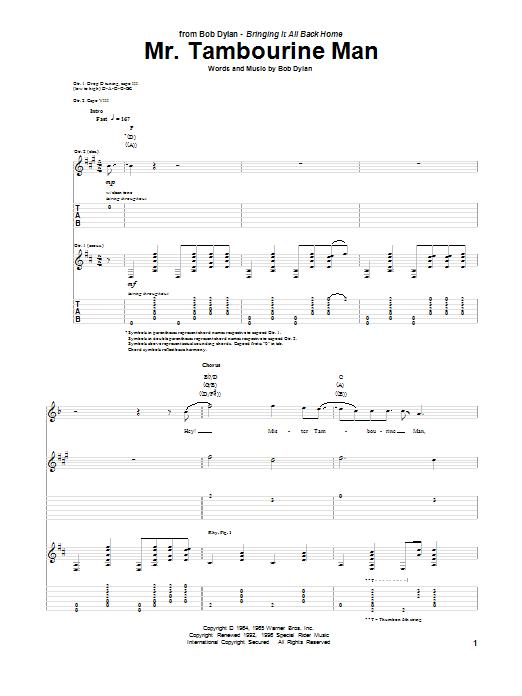 Tablature guitare Mr. Tambourine Man de Bob Dylan - Tablature Guitare