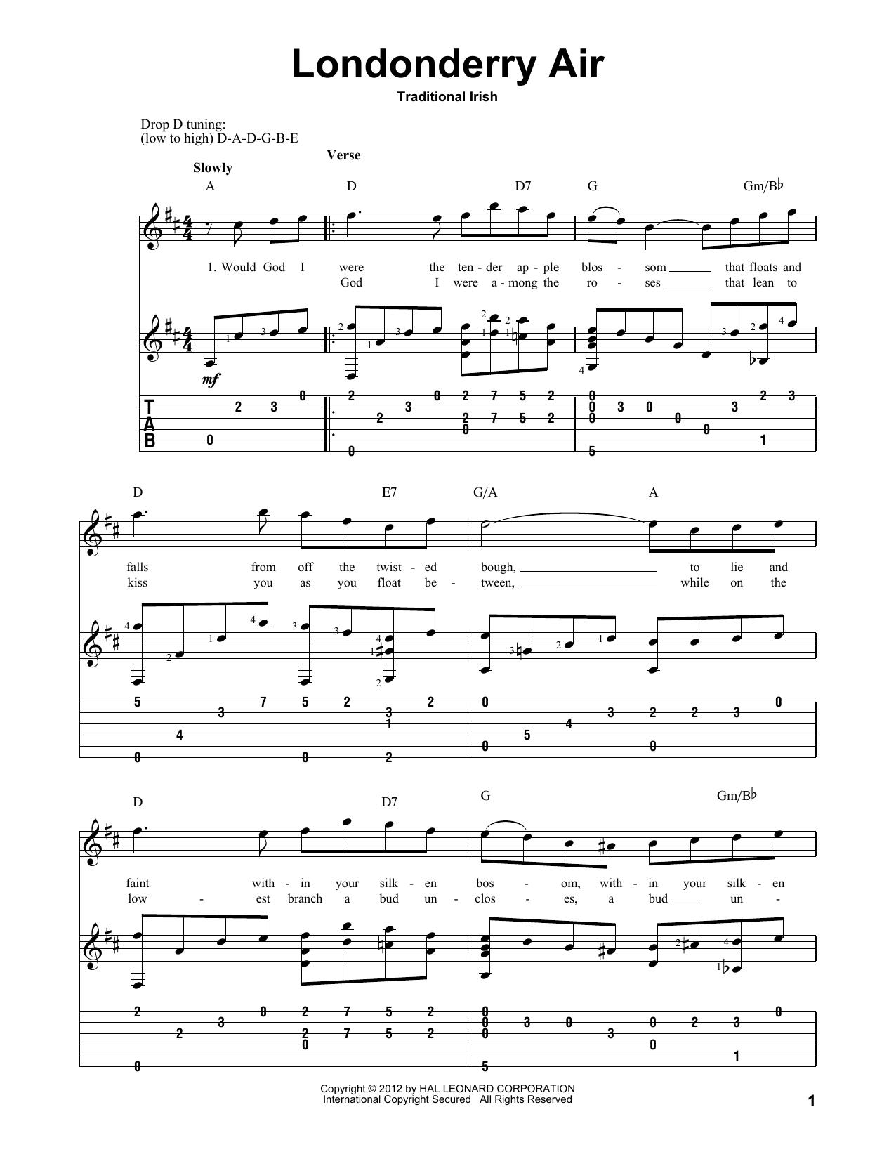 Tablature guitare Londonderry Air de Traditional Irish - Tablature Guitare