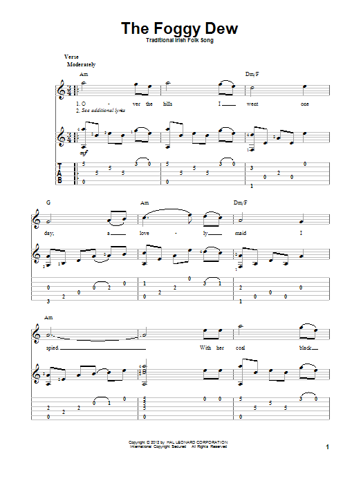 Tablature guitare The Foggy Dew de Traditional Irish Folk Song - Tablature Guitare