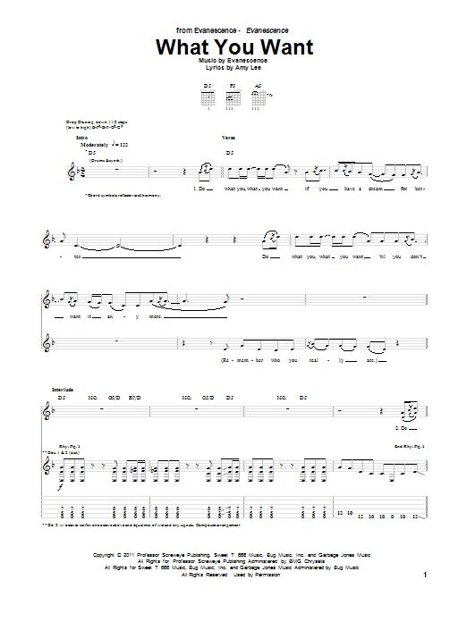 Tablature guitare What You Want de Evanescence - Tablature Guitare