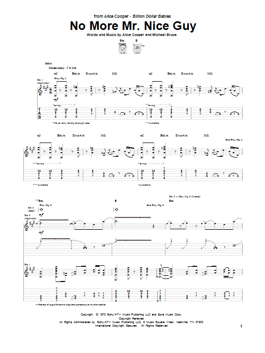 Tablature guitare No More Mr. Nice Guy de Alice Cooper - Tablature Guitare