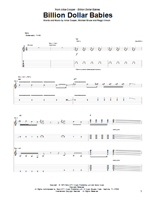 Tablature guitare Billion Dollar Babies de Alice Cooper - Tablature Guitare