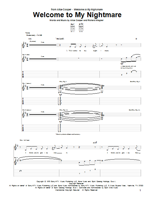 Guitar Instructor Welcome To My Nightmare by Alice Cooper - Guitar Tab